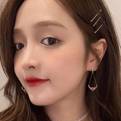 梨花HaNA 韓國925銀桃紅寶石露珠花飾耳環