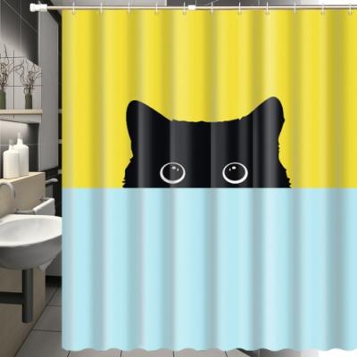 180x180cm 躲貓貓一家防潑水浴簾(一個)+伸縮桿(一支)
