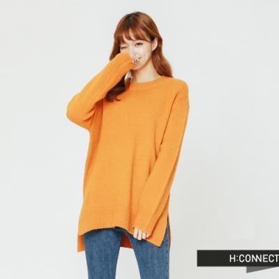 H:CONNECT 韓國品牌 女裝 - 圓領側開岔毛衣-黃(快)