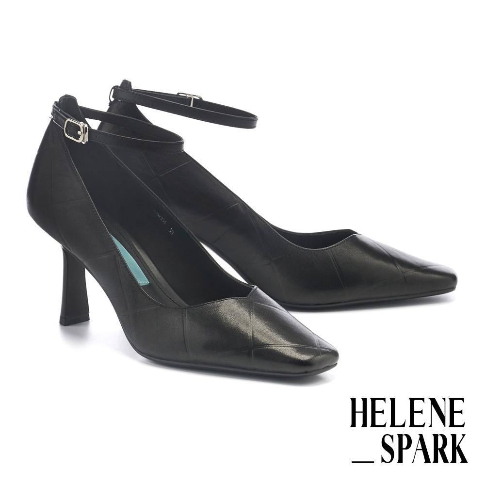高跟鞋 HELENE SPARK 簡約復古方格壓紋牛皮繫帶方頭高跟鞋-黑