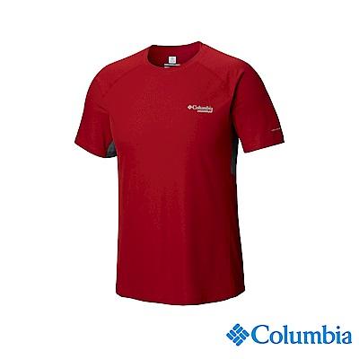 Columbia哥倫比亞 男款-野跑涼感快排短袖上衣-紅色 UAE13070RD