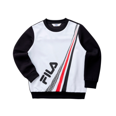 FILA KIDS 童針織圓領長袖T恤-白色 1TET-8400-WT