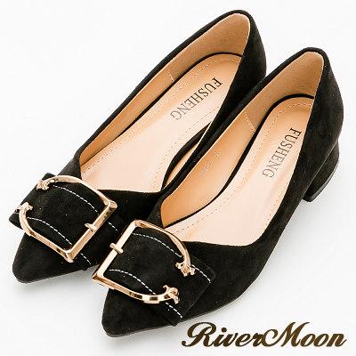 River&Moon跟鞋-輕熟皮帶扣細絨尖頭粗跟鞋-黑