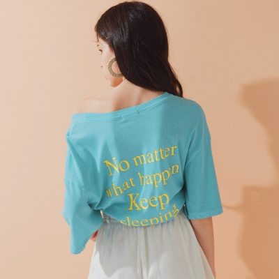 AIR SPACE LADY LAZY字母印刷短袖上衣(藍)