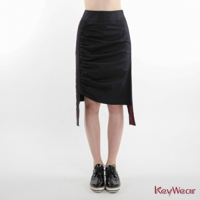 KeyWear奇威名品   側邊字母羅紋裝飾及膝裙-深藍色