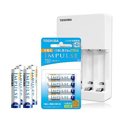 東芝 智慧型低自放充電電池充電組(TNHC-34HBC+日本製四號4顆)TNH-4ME
