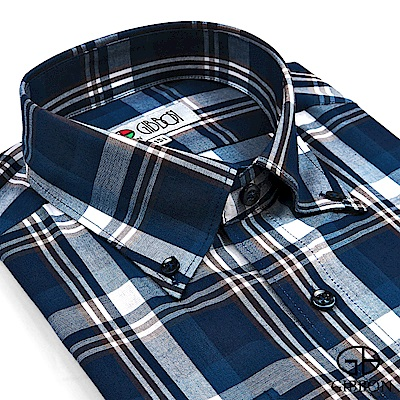 GIBBON 時尚大格紋長袖襯衫‧深藍棕格