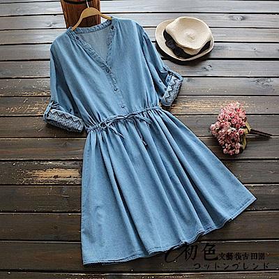 純色刺繡牛仔連衣裙-牛仔藍(F可選)    初色 田園