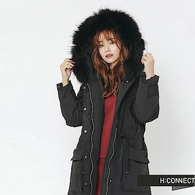 H:CONNECT 韓國品牌 女裝-口袋造型抽繩羽絨外套-黑