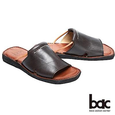 bac 台灣品質 簡約自在真皮涼拖鞋-灰