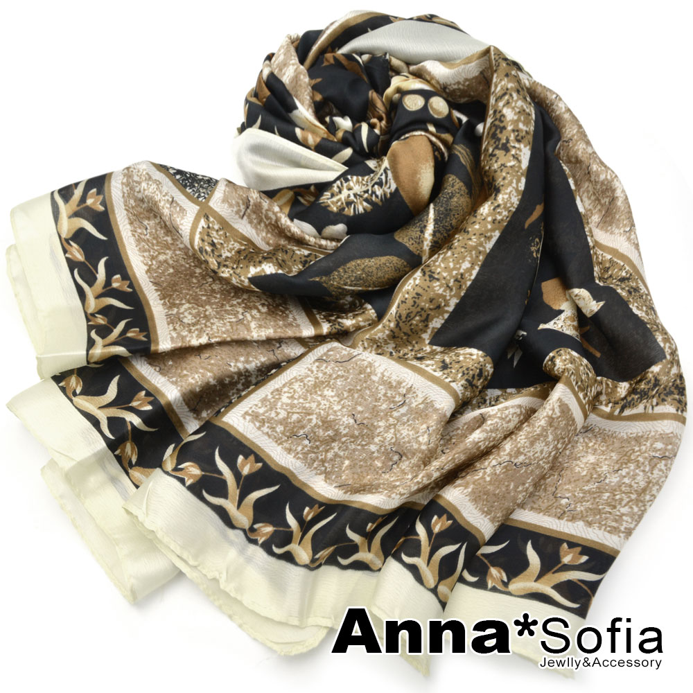 【滿688打75折】AnnaSofia 雍華珠鍊 亮緞面仿絲披肩絲巾圍巾(黑米系)