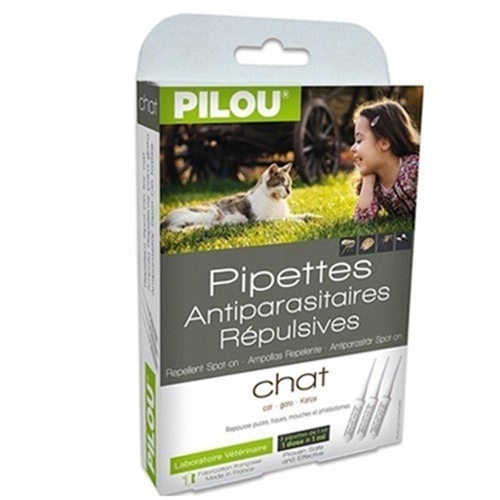 法國皮樂Pilou第二代加強升級-非藥用除蚤蝨滴劑-成貓用(3支各1ml-4kg以上)