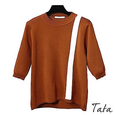 七分袖直線造型針織上衣 共二色 TATA