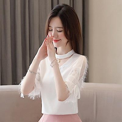 DABI 韓系雪紡衫V領亮絲流蘇喇叭氣質短袖上衣