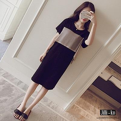 Jilli-ko 雪紡拼接撞色連衣裙- 黑/卡