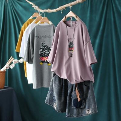 純棉卡通印花T恤百搭韓版短袖上衣四色-設計所在