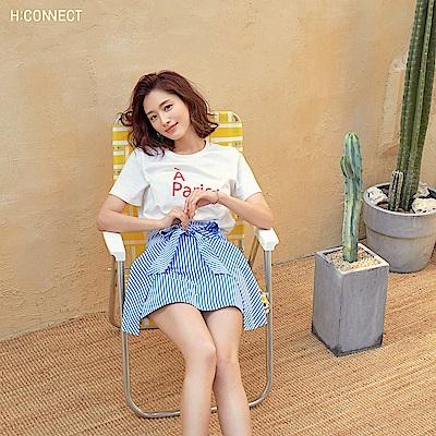 H:CONNECT 韓國品牌 女裝-甜美綁結條紋短裙-藍
