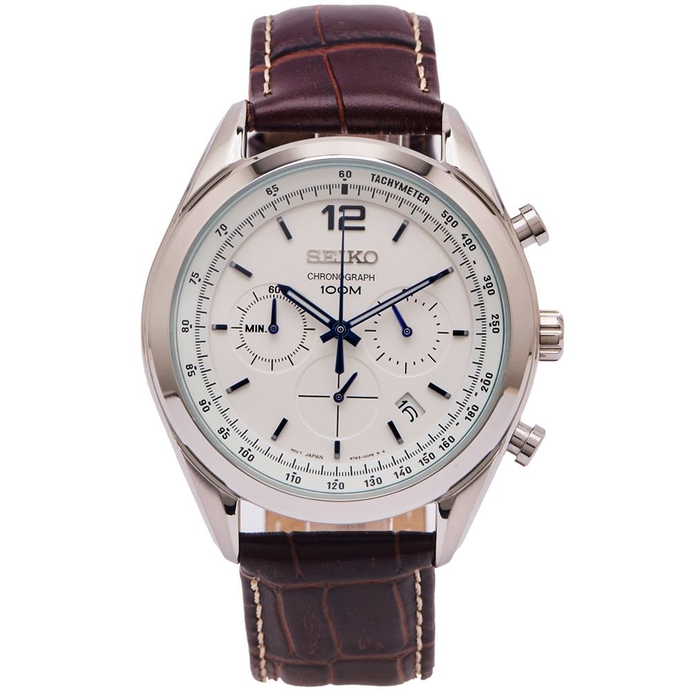 SEIKO 時尚旋風三眼計時皮革錶帶手錶(SSB095P1)-白面X咖啡色/44mm