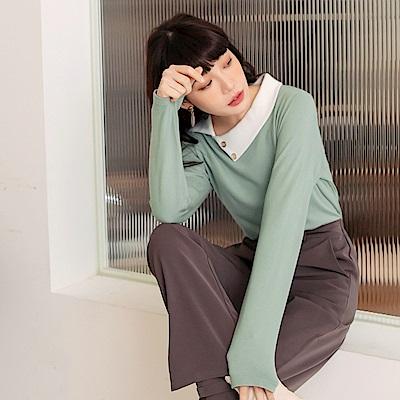 溫暖磨毛針織簡約質感造型翻領上衣-OB嚴選