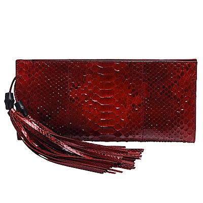 GUCCI 經典Nouveau系列蟒蛇皮竹節流蘇墜飾手拿包(紅)