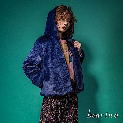 beartwo 名媛風毛絨絨連帽短版外套(二色)