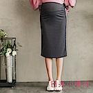 日系小媽咪孕婦裝-韓製孕婦褲~拼接彩色直紋運動風及膝窄裙 (共三色)