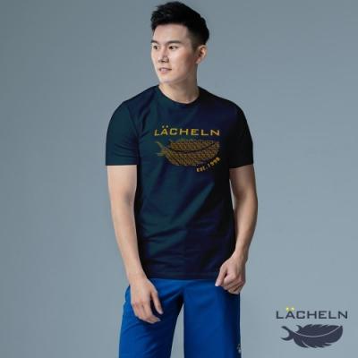 【LACHELN】抗UV彈力棉經典印刷T恤-L92MA04藍綠色