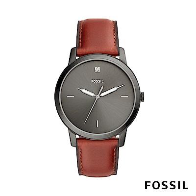 FOSSIL MINIMALIST 簡約設計中性錶-黑底紅錶帶 約44mm FS5479