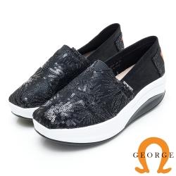 GEORGE 喬治皮鞋 花型亮片厚底休閒鞋-黑色
