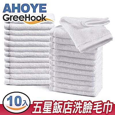 GreeHook 柔膚吸水厚棉方巾/擦手巾/擦臉毛巾 30*30cm 純白 10入組