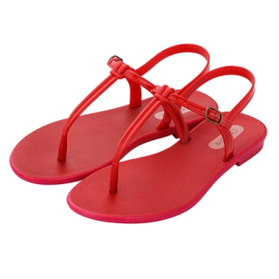 Grendha 極簡亮面T字帶平底涼鞋-玫紅色