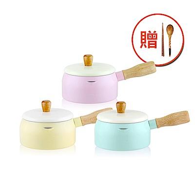 WOKY沃廚 台灣製日式木柄多功能牛奶鍋15CM加贈匙筷組(3色可選)