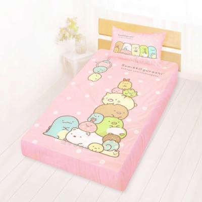 享夢城堡 單人床包枕套3.5x6.2二件組-角落小夥伴 夾夾樂-粉橘.藍綠