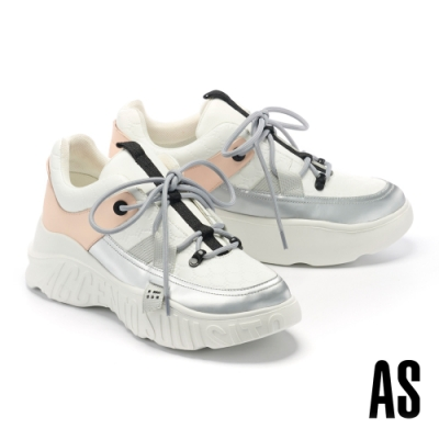 休閒鞋 AS 潮流異材質拼接登山帶釦LOGO造型厚底老爹休閒鞋-銀