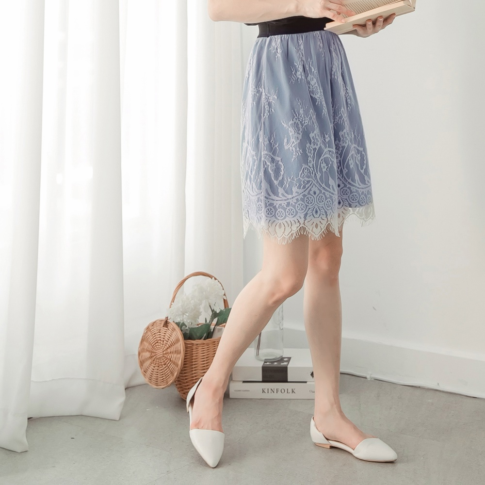 微性感假兩件睫毛蕾絲腰鬆緊牛仔短裙-OB大尺碼