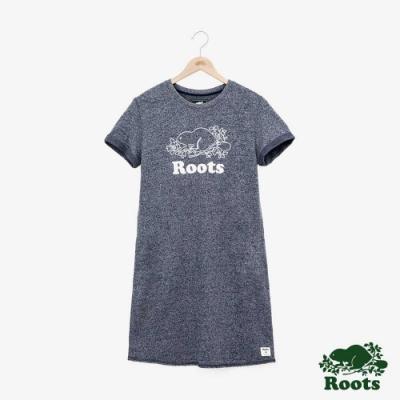 女裝Roots- 刺繡LOGO毛圈布短袖洋裝-藍