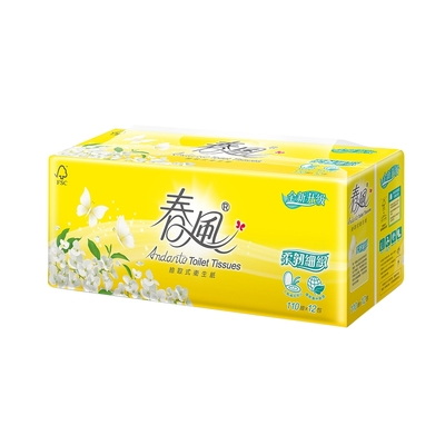 春風 柔韌細緻抽取式衛生紙 110抽x12包x6串