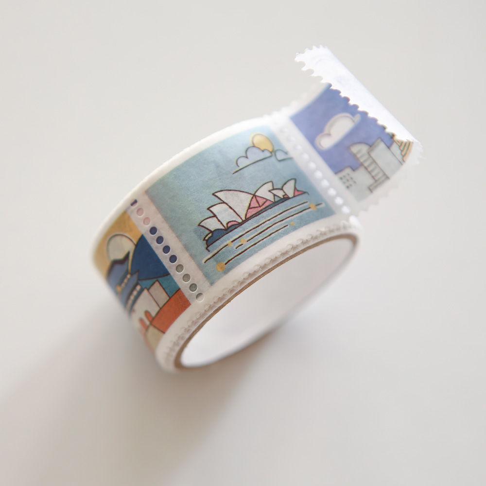 Dailylike 郵票造型紙膠帶(單捲)-07世界地標