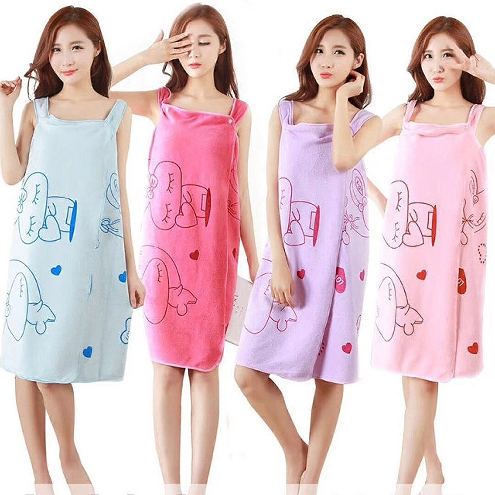 iSFun 速乾可穿式 加厚吸水成人浴巾/浴袍 (隨機色)