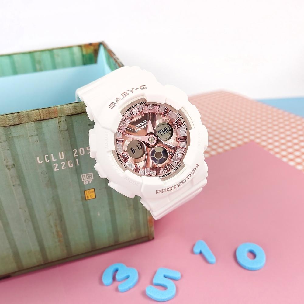 Baby-G CASIO卡西歐 雙顯 帥氣甜美 計時 防水100米 運動 手錶-玫瑰金x白/43mm