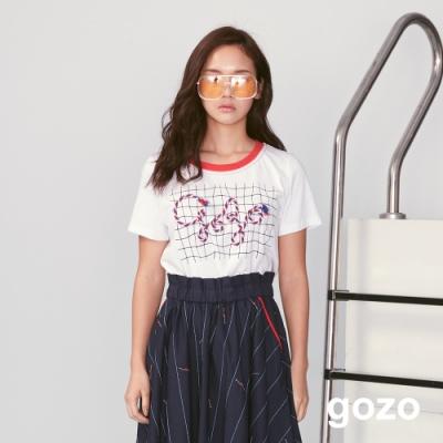 gozo 彩色立體編繩網格印花上衣(白色)