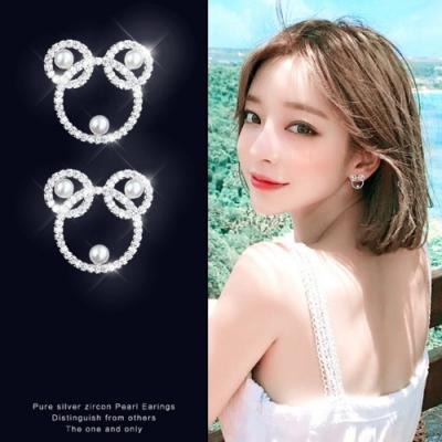 梨花HaNA 韓國925銀精緻微鑲小熊貓珍珠耳環