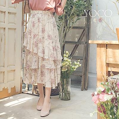 東京著衣-yoco 迷人步伐碎花層次魚尾長裙(共二色)