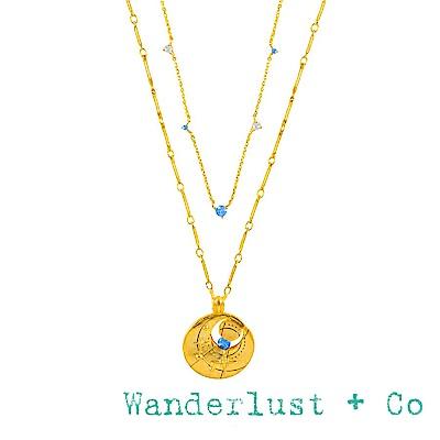 Wanderlust+Co 澳洲品牌 三月誕生石項鍊 鑲鑽金色項鍊