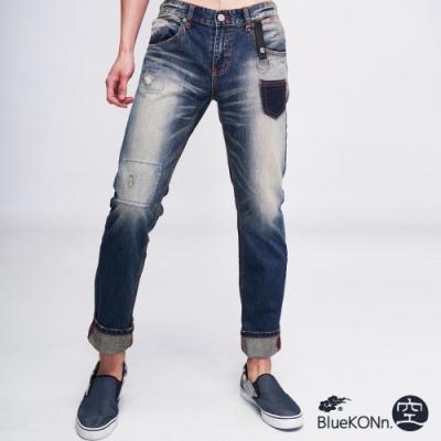 鬼洗BLUE WAY -復古小口袋中低腰直筒褲