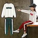 小衣衫童裝   中性款中大童簡約字母印花長袖長褲運動服1070841