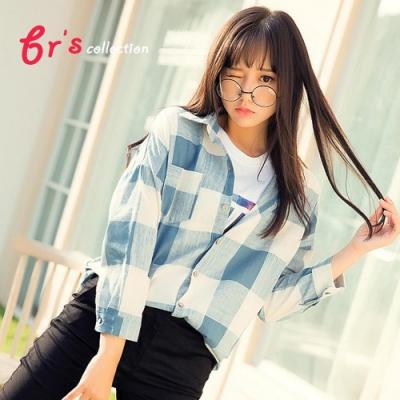 【brs】 棉麻格子襯衫外衫