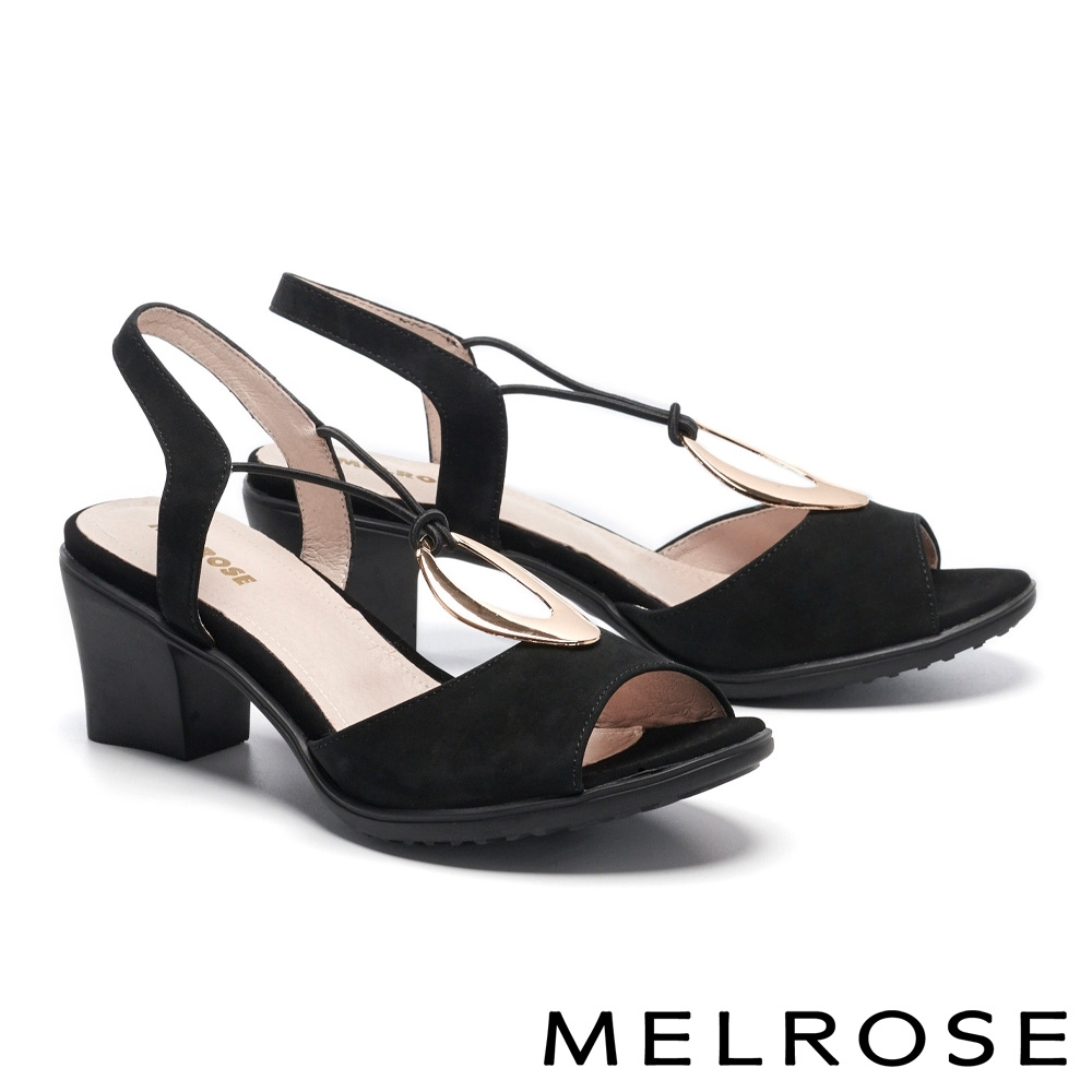 涼鞋 MELROSE 時髦迷人金屬圓釦設計高跟涼鞋-黑