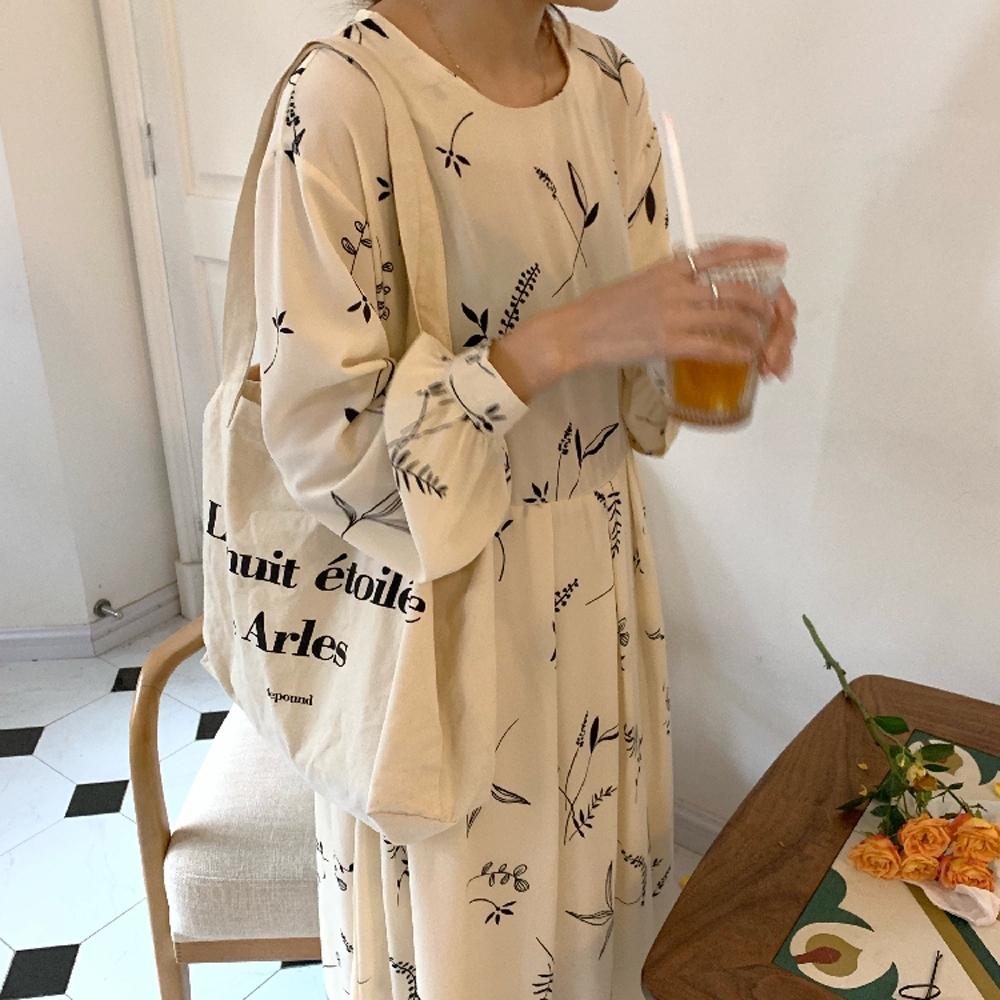 暢貨出清MOCO韓版花枝柳葉印花圓領高腰抓摺後拉鍊質感寬鬆洋裝