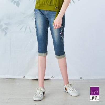 ILEY伊蕾 俏皮感膠印燙鑽彈性七分直筒褲(藍)